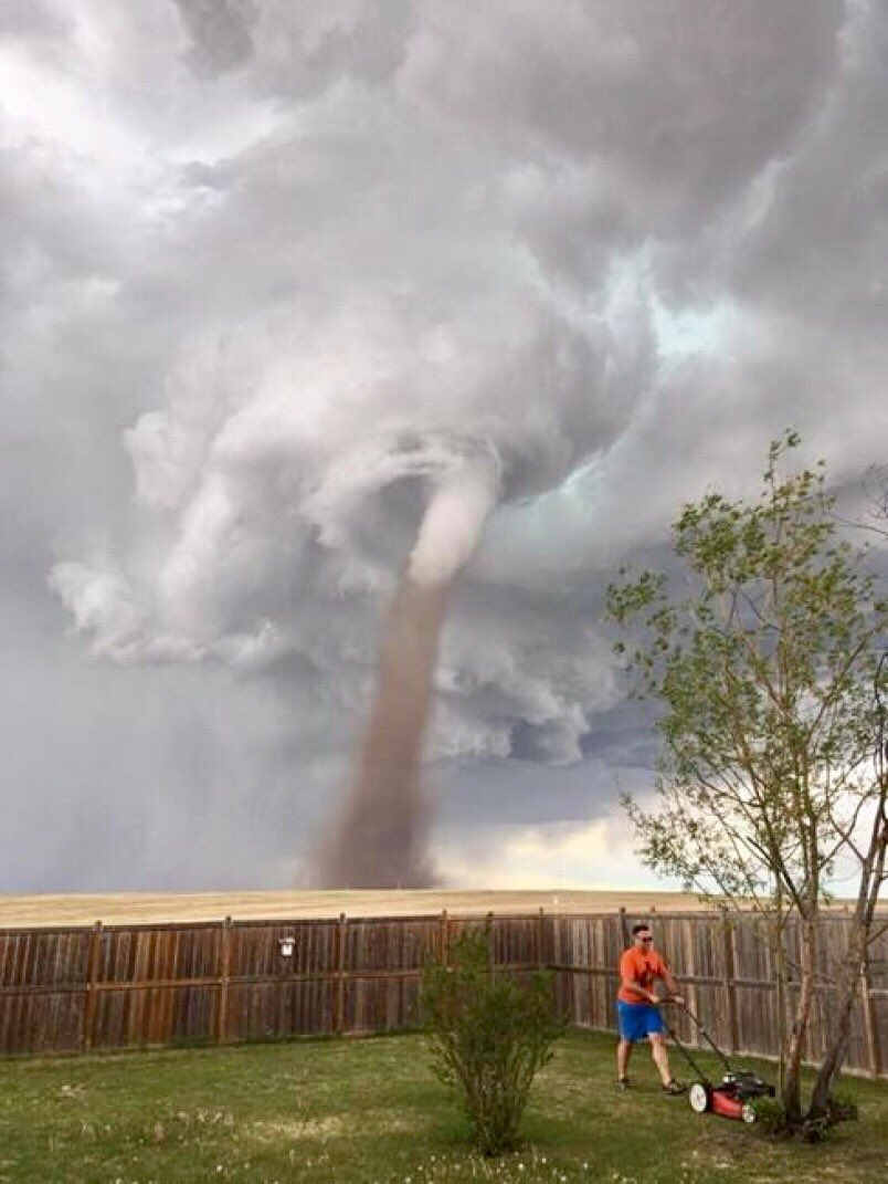 Man, Mower, Tornado